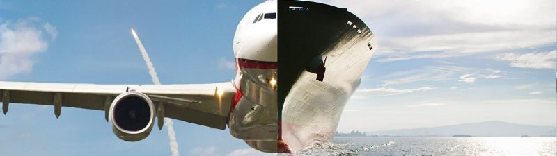 A split image of a plane flying and a ship at sea with a rocket in the background