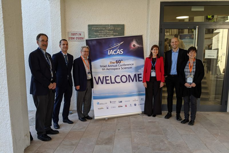 Left to Right: Prof. Mark Psiaki, Prof. Joaquim Martins (Univeristy of Michigan), Dr. John Langford (Aurora Flight Sciences and president of the AIAA), Prof. Chiara Bisagni (TU Delft), Dr. Tomer Rokita (Rafael/Technion), Ms. Vered Seginer (Technion).  Photo submitted by Mark Psiaki.