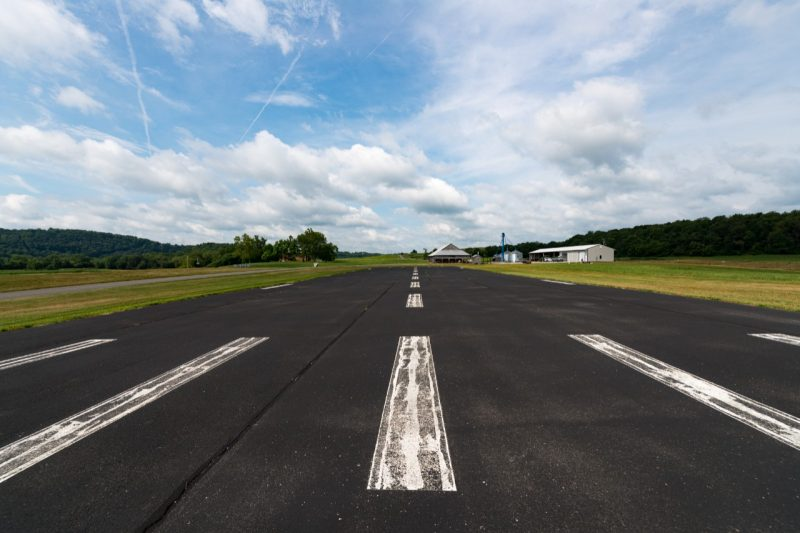 The KEAS Lab viewed from the end of the 300 ft x 70 ft paved runway.