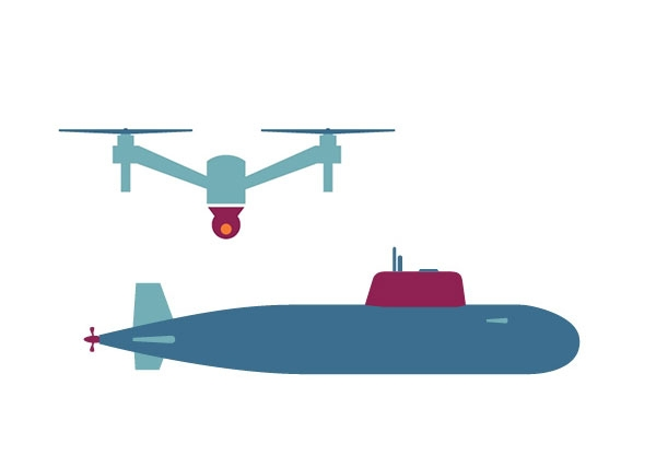 An icon of a quadcopter and a submarine
