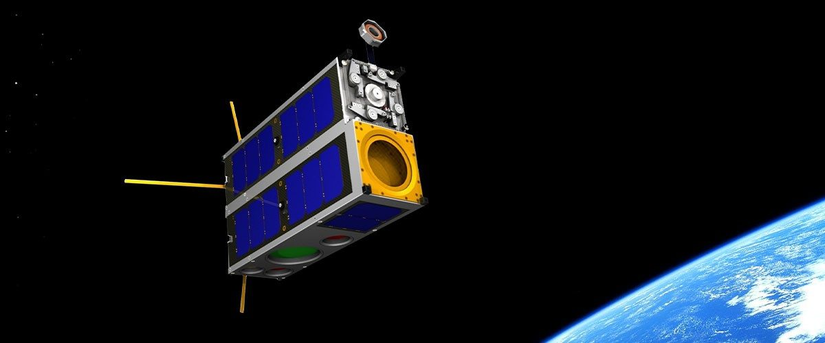 An artist rendition of a CubeSat satellite